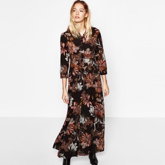 7d58c66a8ed3 Zara Vintage Floral Print Maxi Shirt Dress. M_5aca879600450f7faf70de68